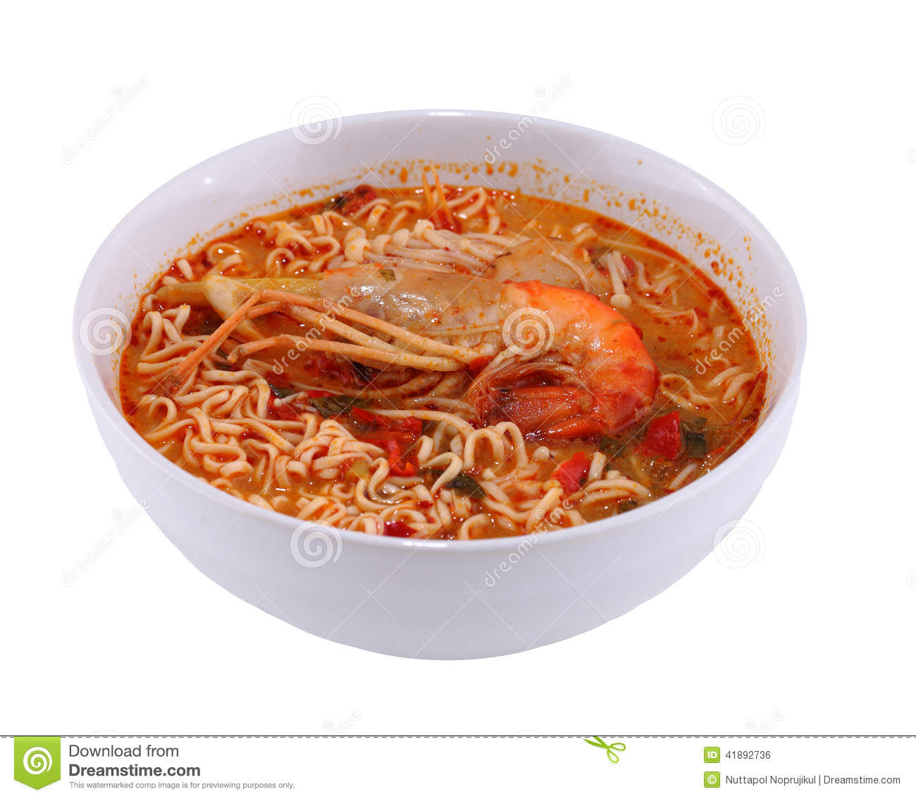 tom yam koong soup with noodles on white background stock photo