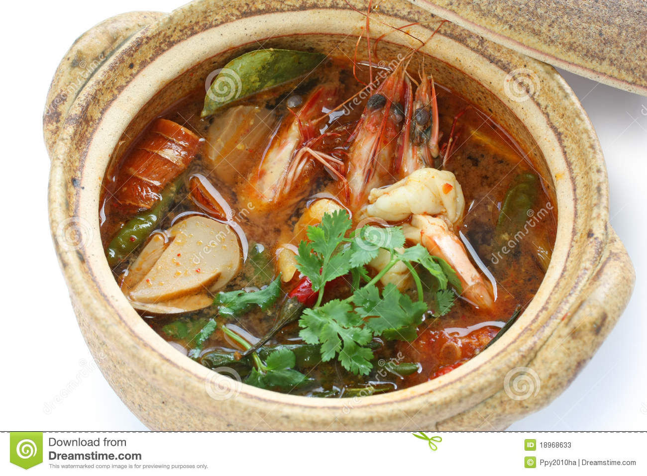Tom yam kung , thai cuisine , hot and sour prawn soup.
