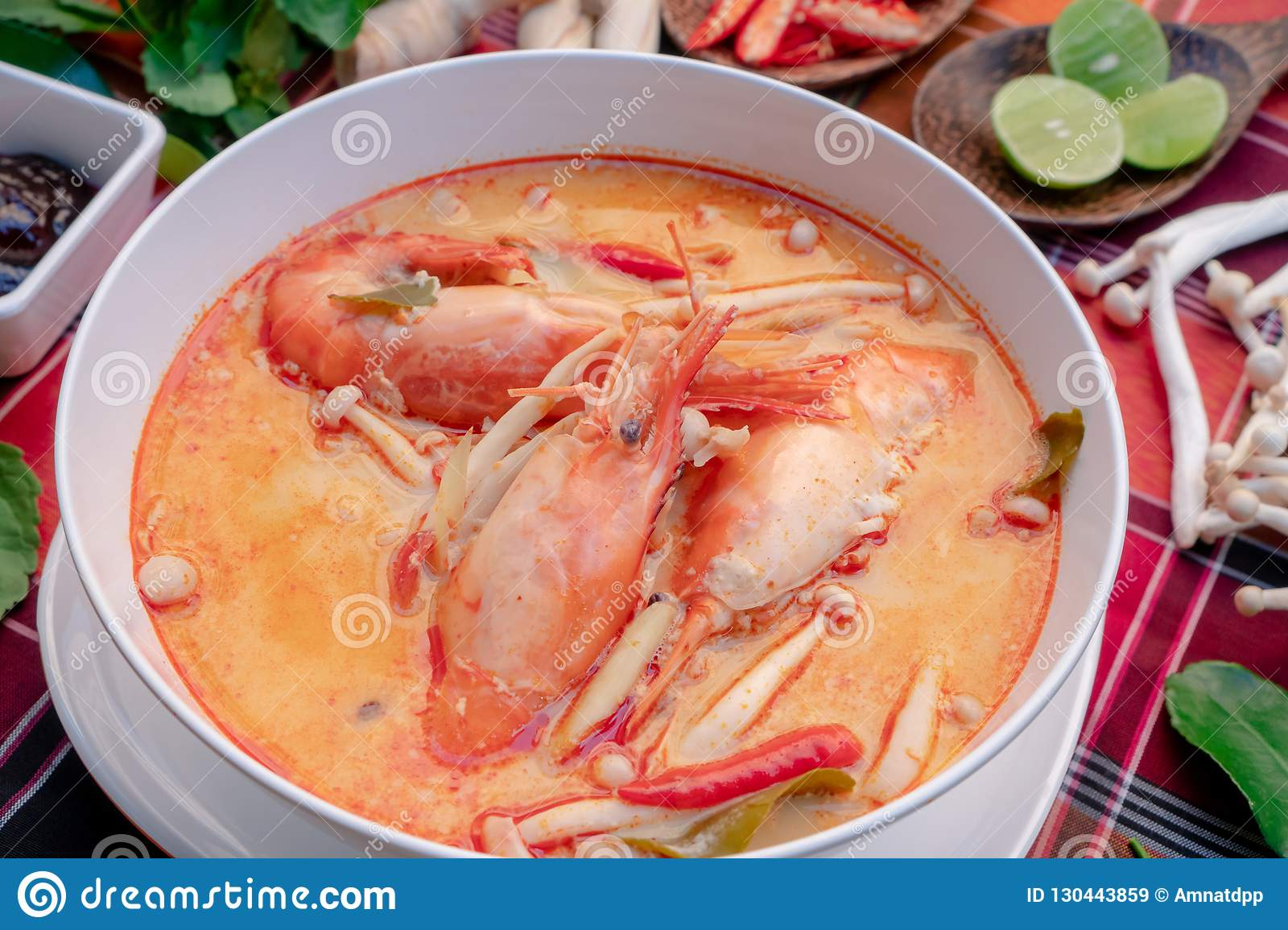 Tom yam kung or Tom yum in a white cup