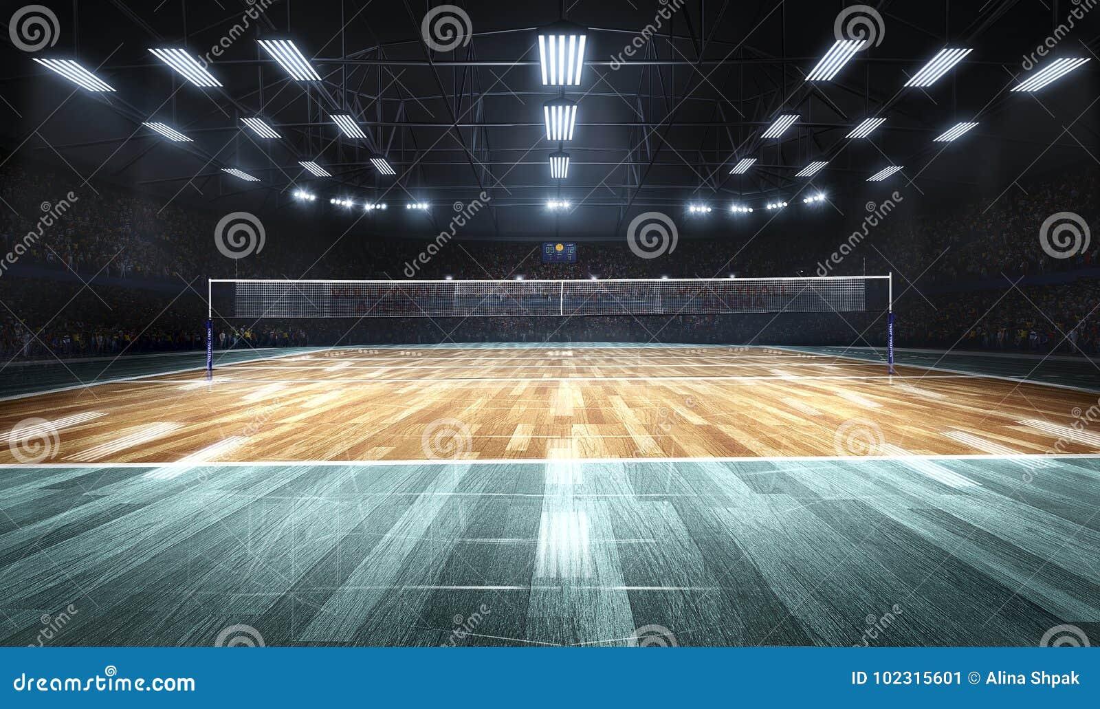 Tom yrkesmässig volleybolldomstol i ljus
