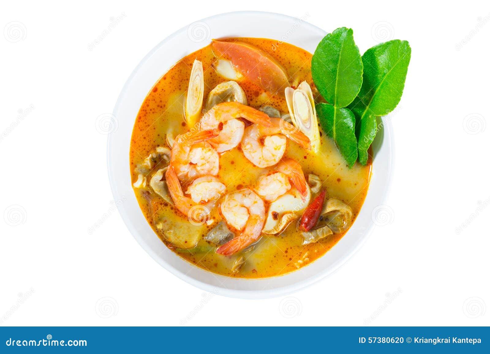 Tom Yum Goong - sopa quente e picante tailandesa com camarão - Cuisi tailandês