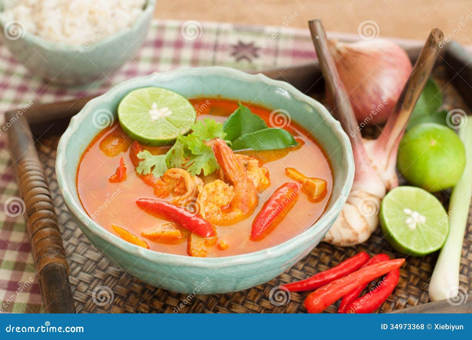 Tom Yum Goong Thai Cuisine, Prawn Soup With Lemongrass. Royalty Free ...