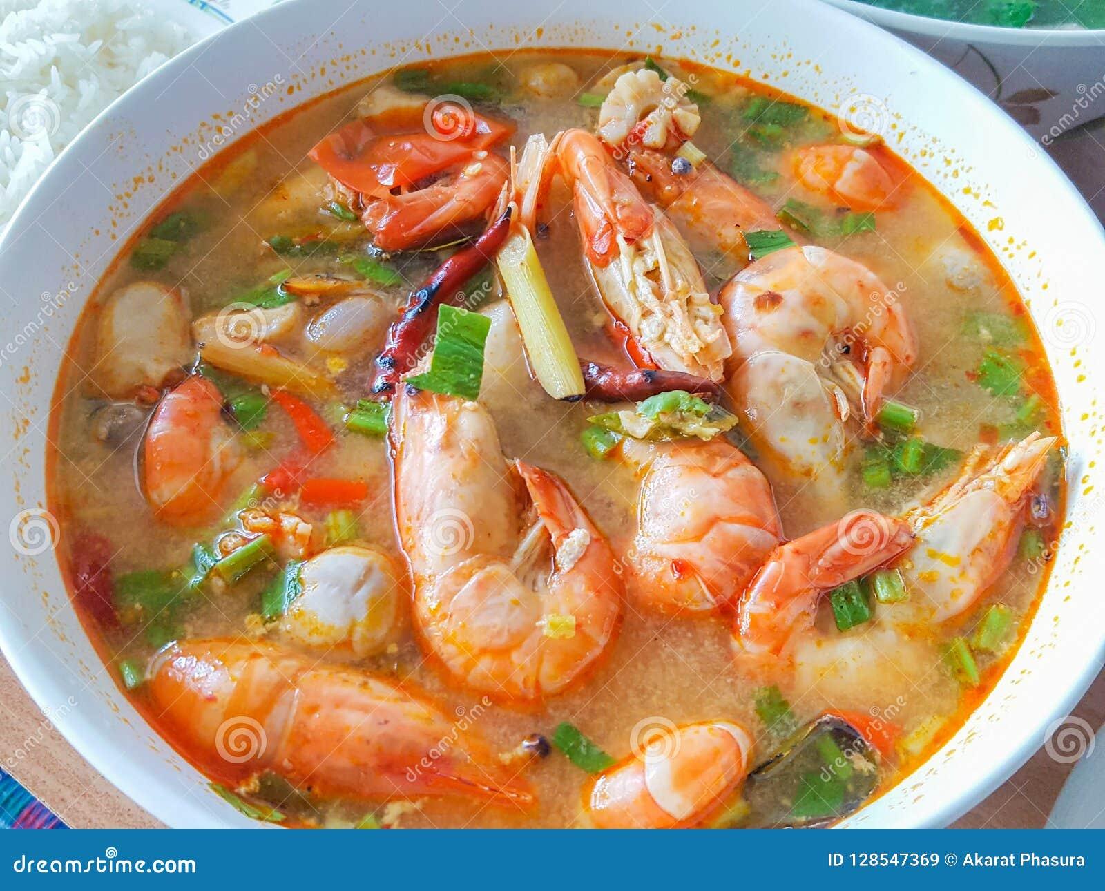 Tom Yum Koong Thai Language caseiro é camarão e nardo
