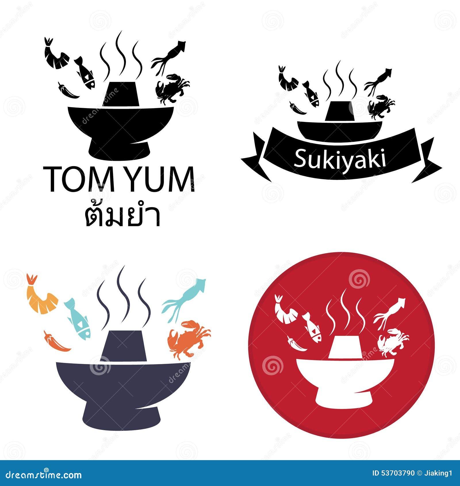 Tom Yum Sukiyaki Spicy Hot Pot Logo And Icon Stock