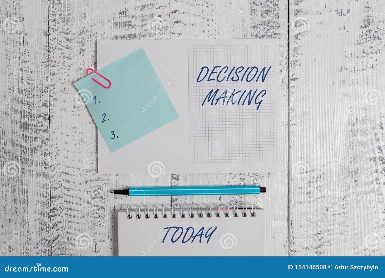 Tomada de decis?o do texto da escrita da palavra Conceito do negócio para o ato de uma decisão entre dois ou mais possibilidades