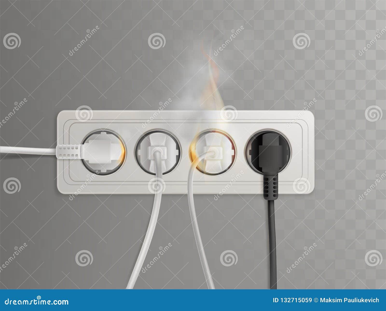 Tomada elétrica de queimadura com vetor das tomadas de poder