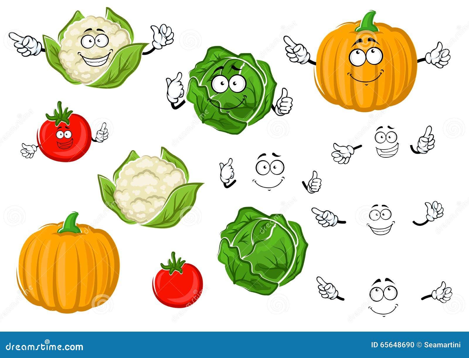 Tomate, chou, potiron et chou-fleur de bande dessinée