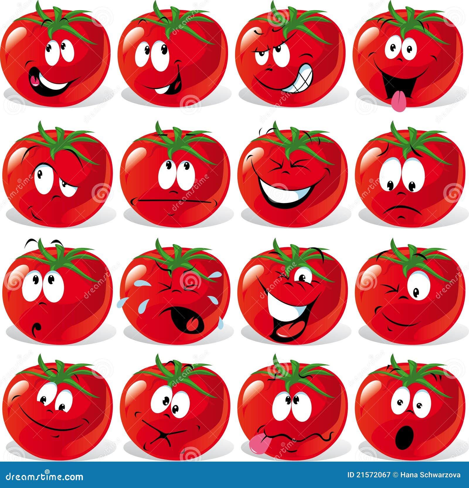 Tomate de dessin anim avec beaucoup d 39 expressions illustration de vecteur illustration du - Tomate dessin ...