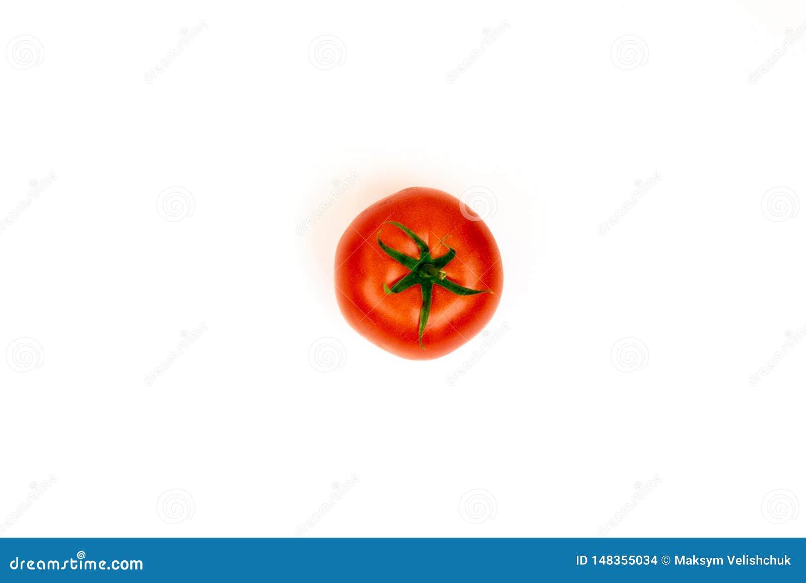 Tomate lokalisiert Tomate mit Ausschnitts-Pfad In ganzer Tiefe vom Feld Frische Tomate lokalisiert auf Wei?