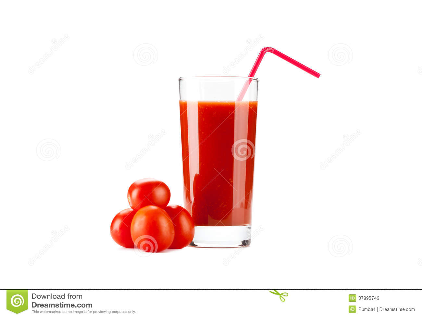 Tomatensap met het drinken stro