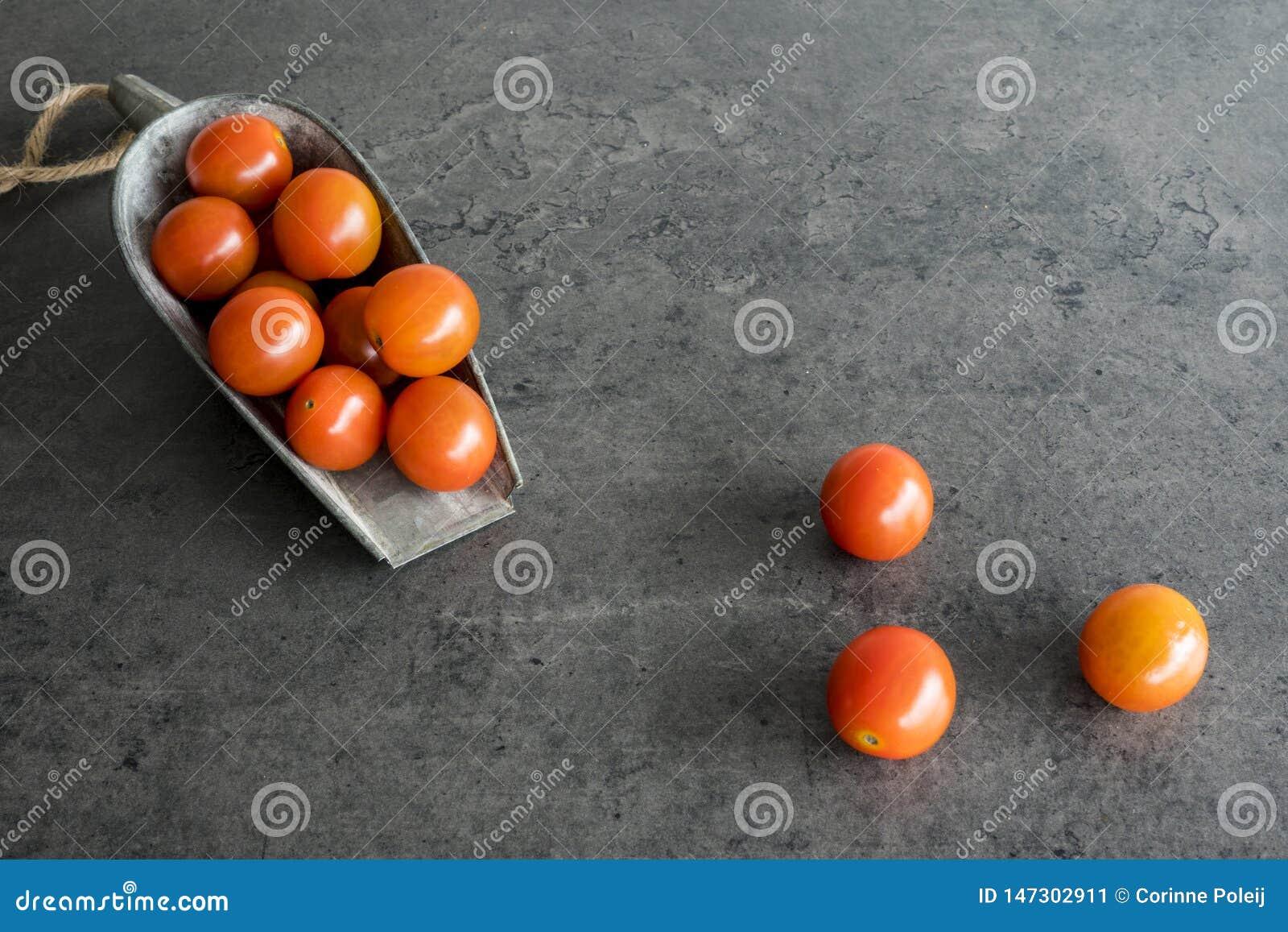 Tomates de cereja na colher do metal do vintage, contra o fundo cinzento