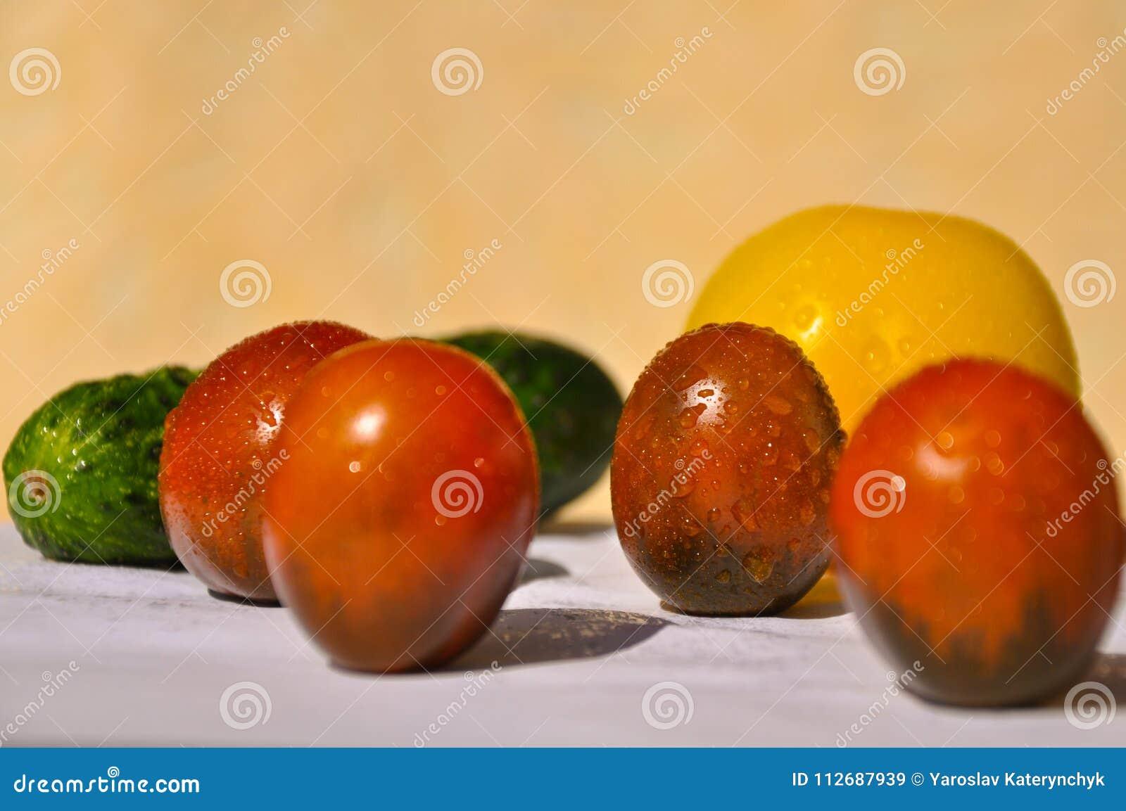 Tomates y pepino en la tabla