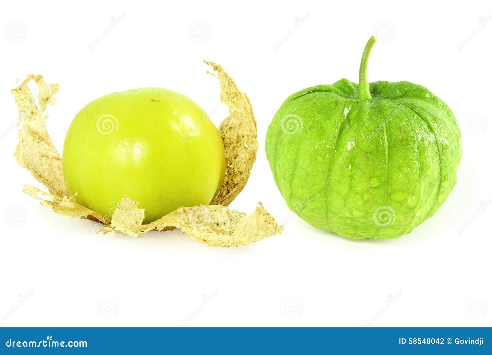 Tomatillo eller tomatfrukt eller grönsak för mexikan grön
