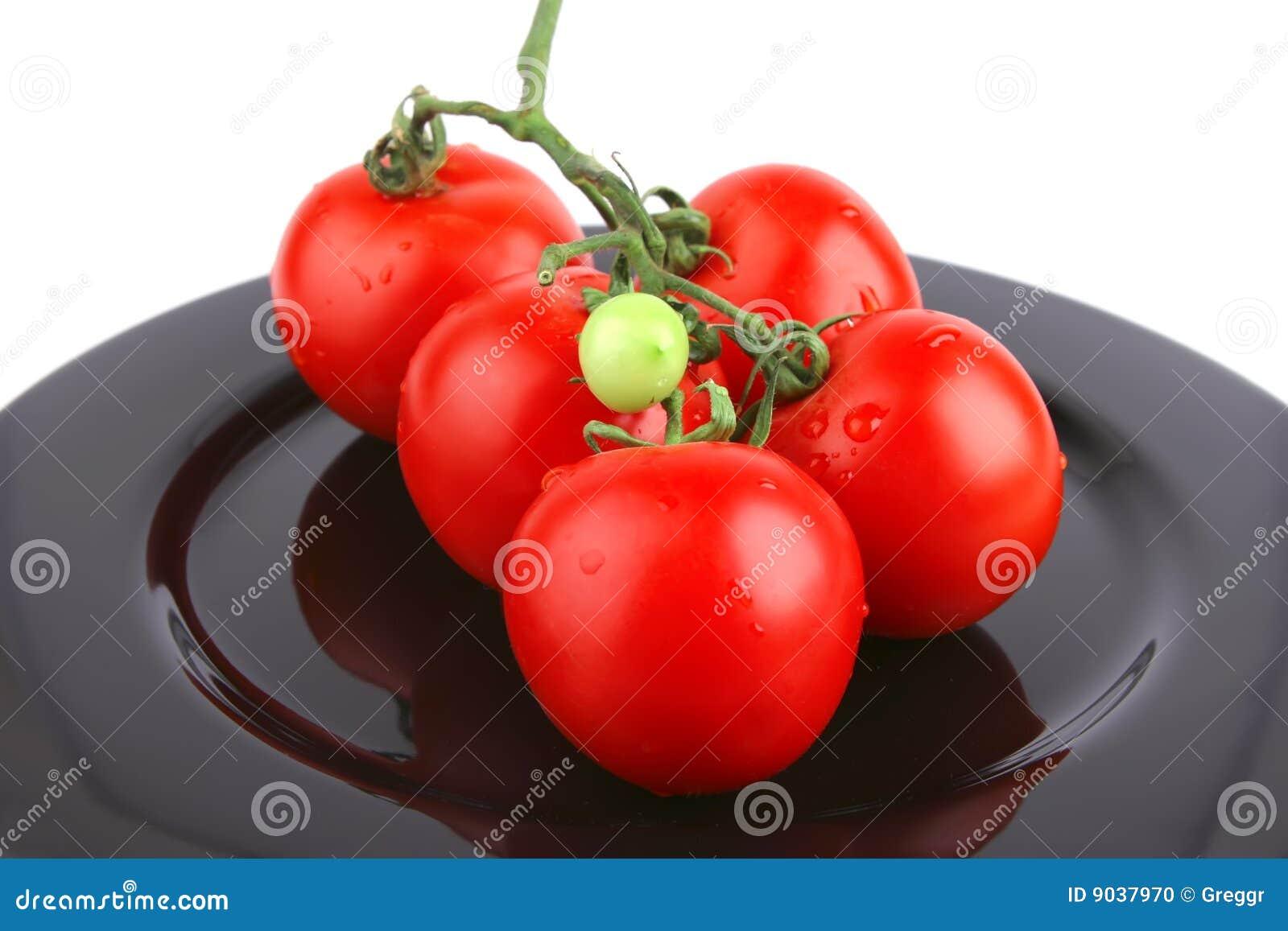Tomato On Black Stock Photo - Image: 9037970