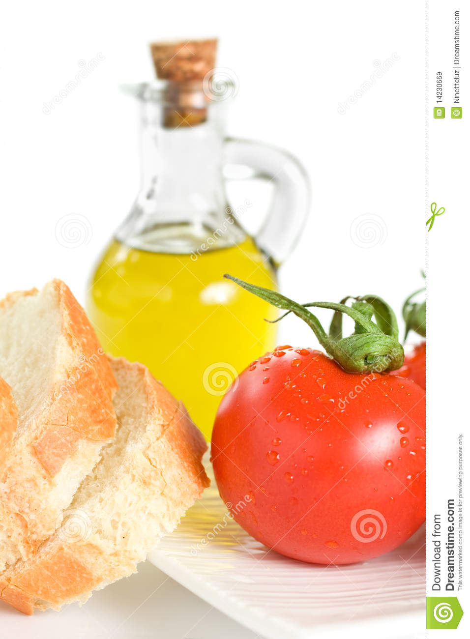 Tomato Bread And Olive Oil Royalty Free Stock Images - Image: 14230669
