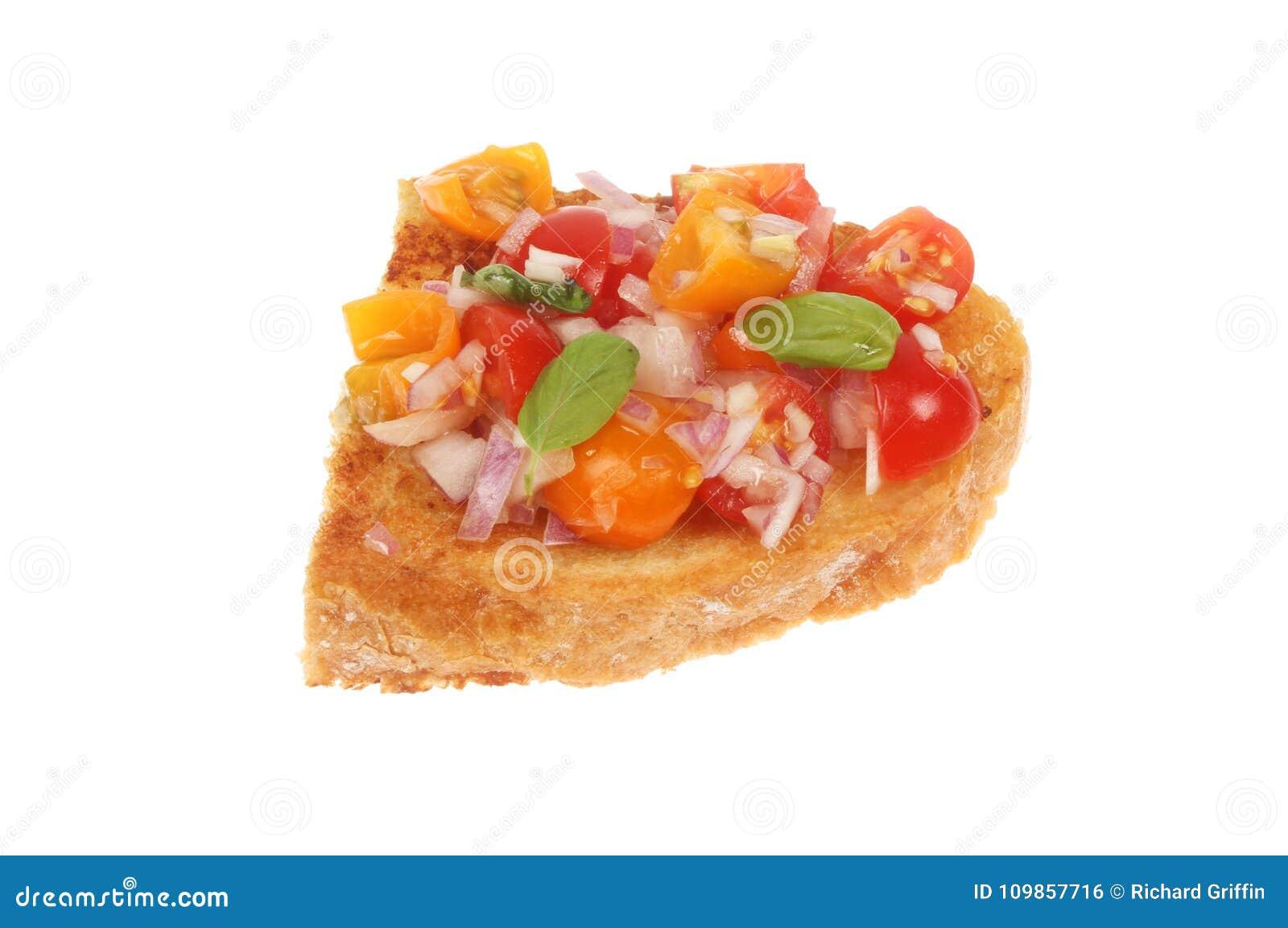 Tomato bruschetta isolated
