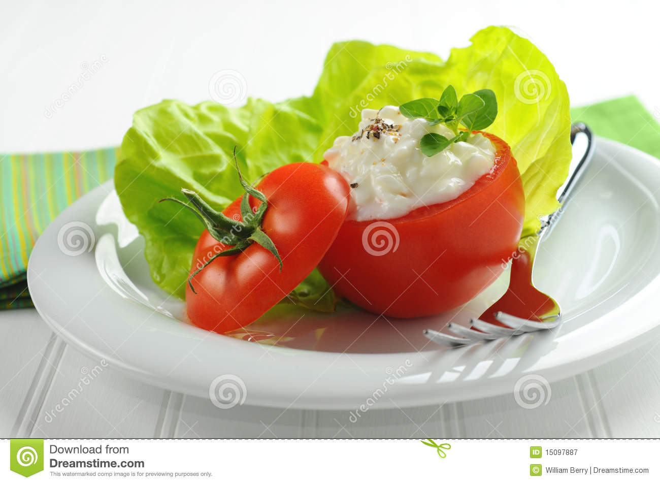 Tomato and Cottage Cheese stock image. Image of vegetarian ...