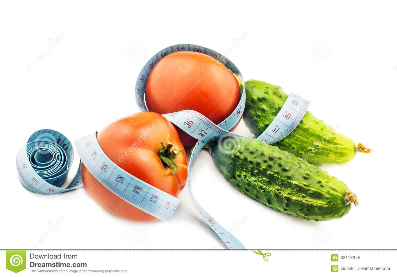 Tomato And Cucumber With Measuring Tape A Symbol Of Fitness Stock