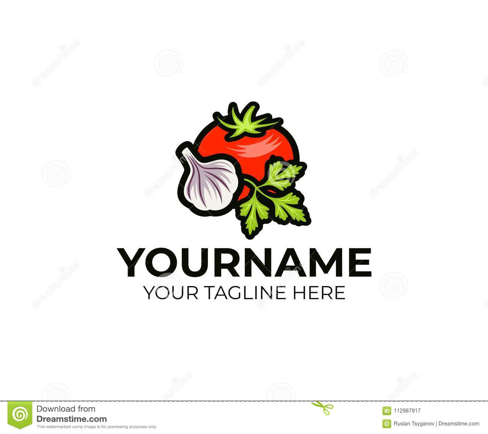Tomato, garlic and parsley logo template. Vegetable still life vector design
