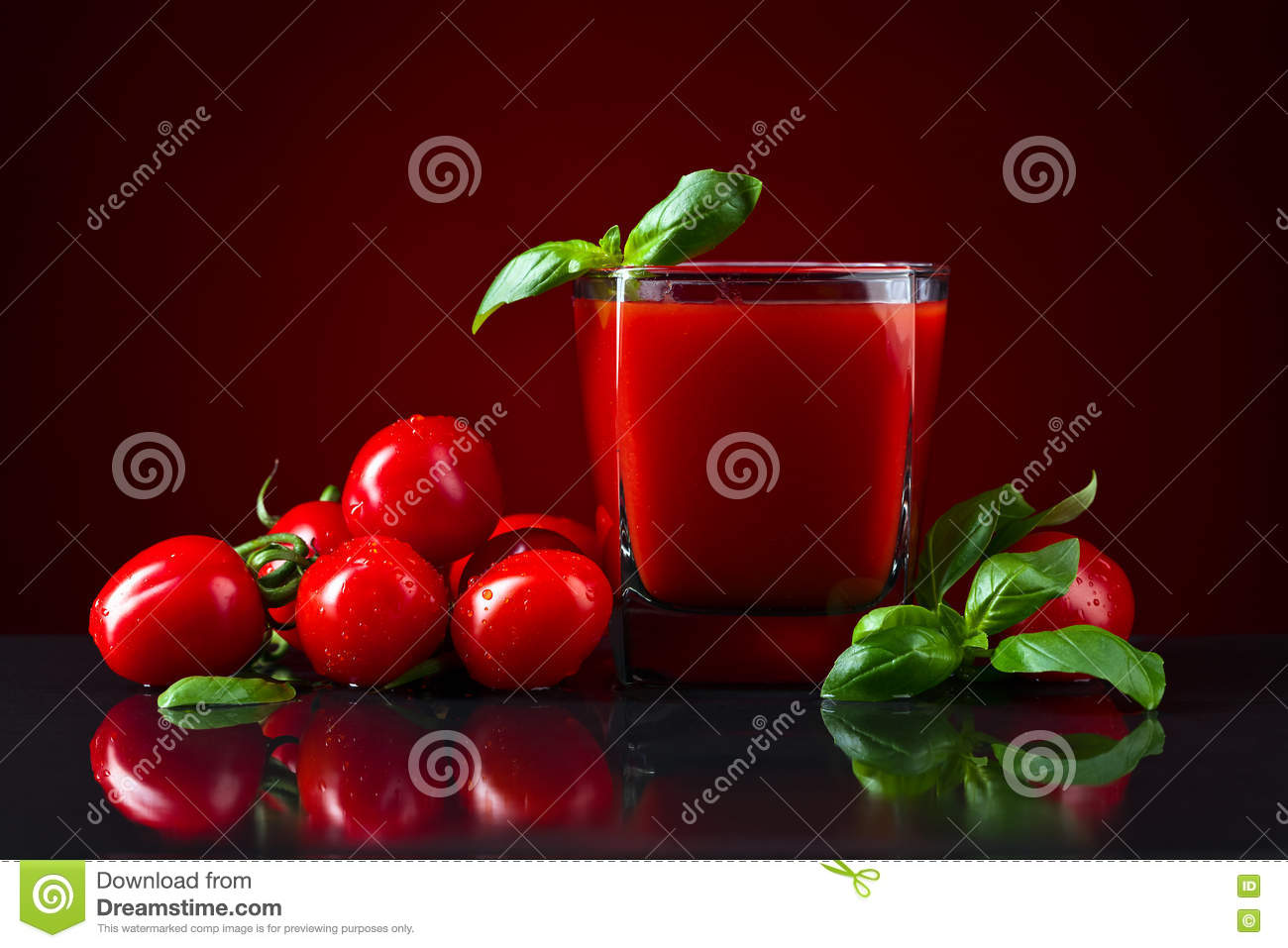 Tomato juice with basil