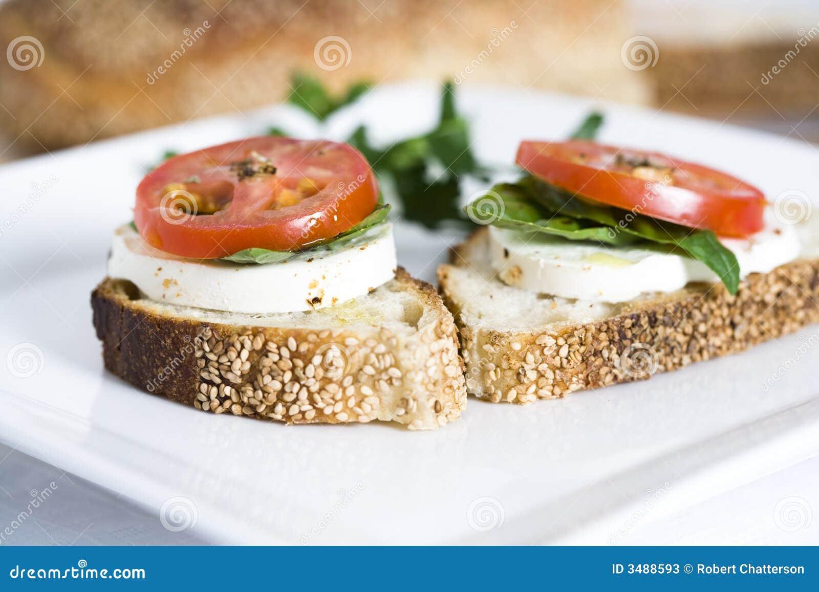 Tomato And Mozzarella On Bread Stock Photos - Image: 3488593
