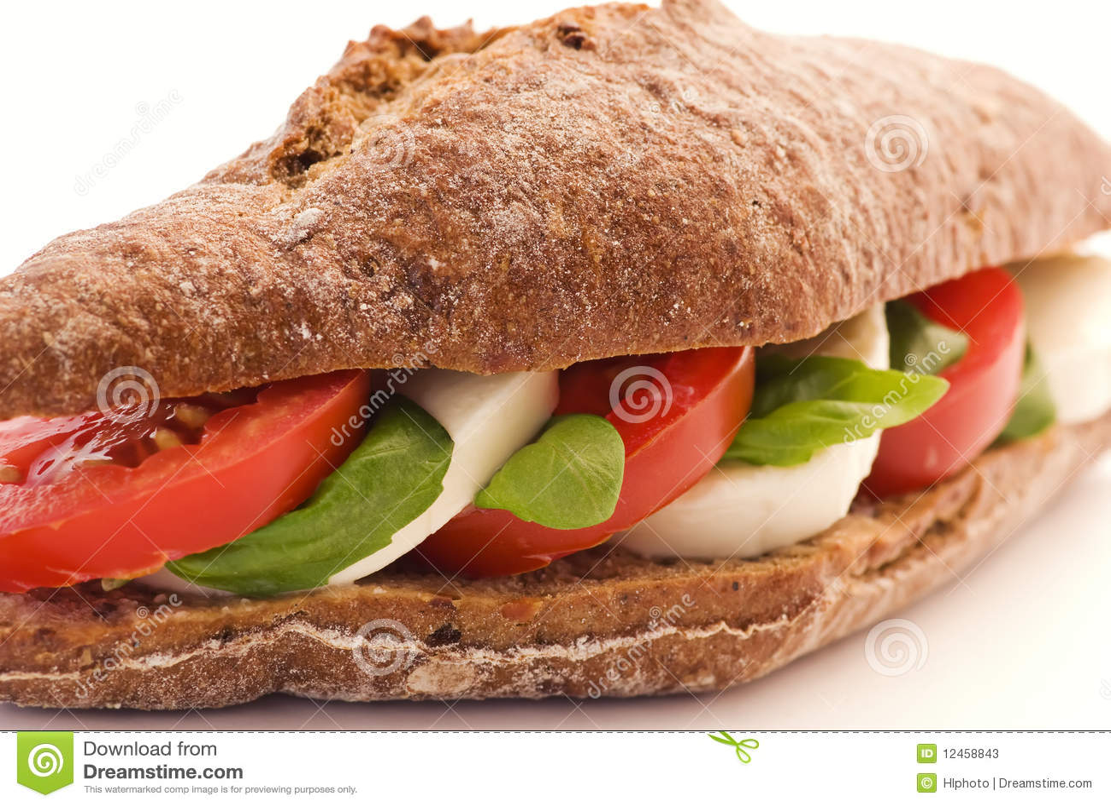 Tomato Mozzarella Sandwich Stock Photos - Image: 12458843