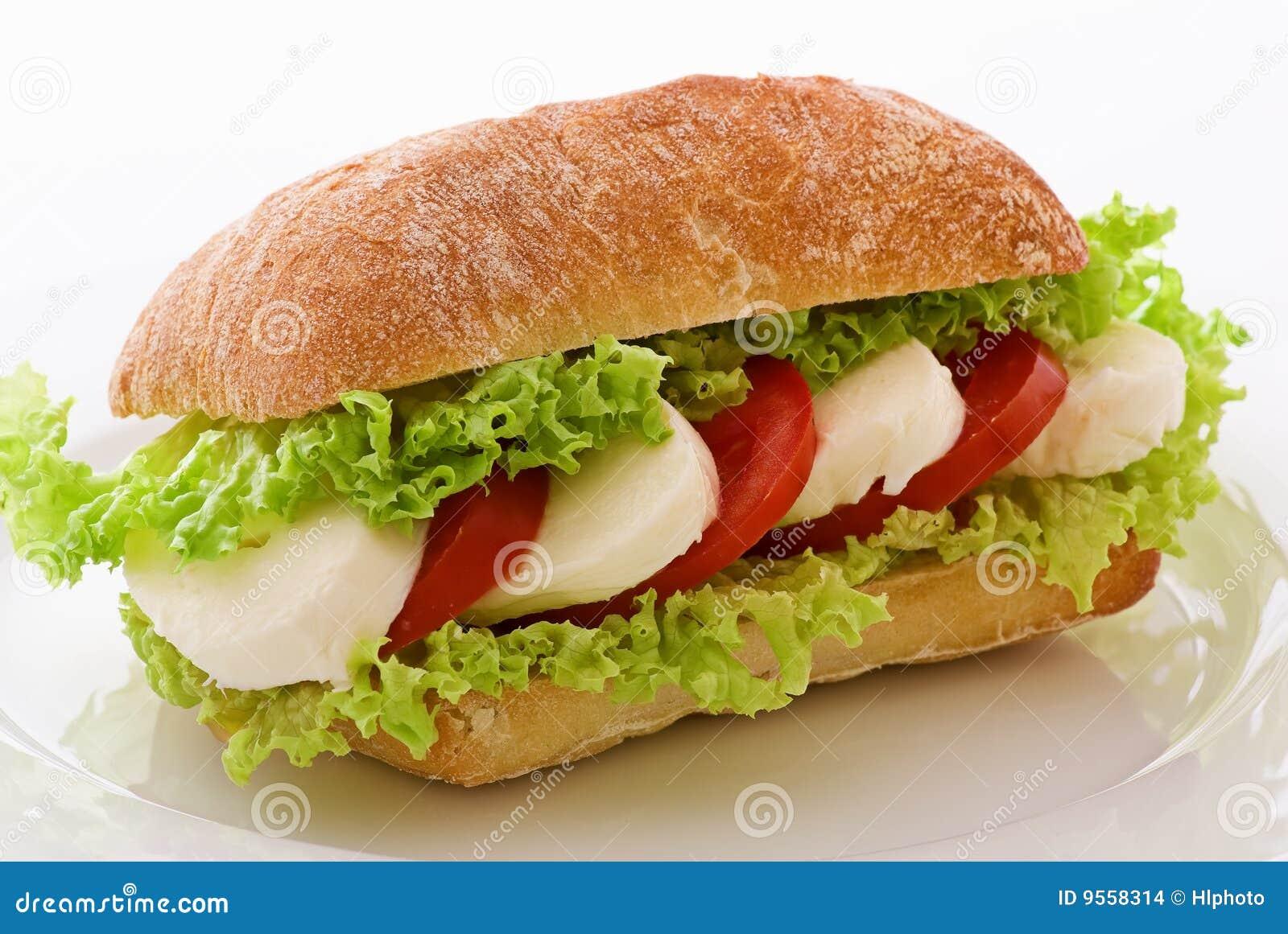 sandwich with tomato, mozzarella and salad leafs on a dish.