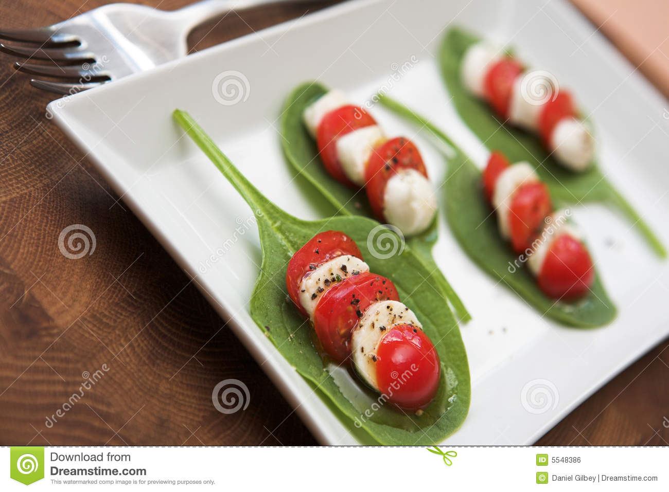 Tomato, Mozzarella & Spinach Salad Royalty Free Stock Image - Image ...