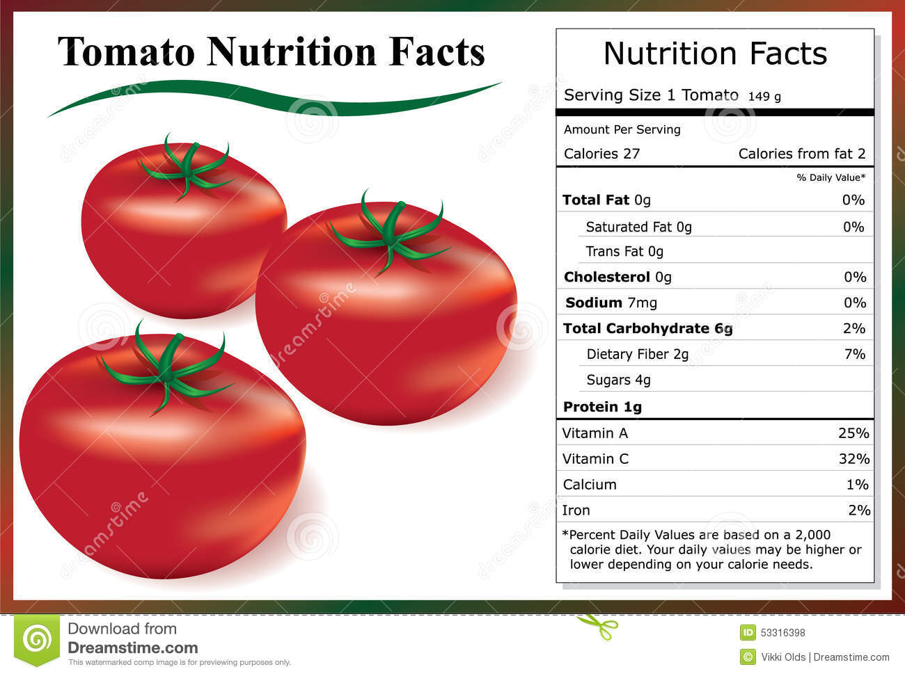 Illustration of tomatoes and a tomato nutrition food label.