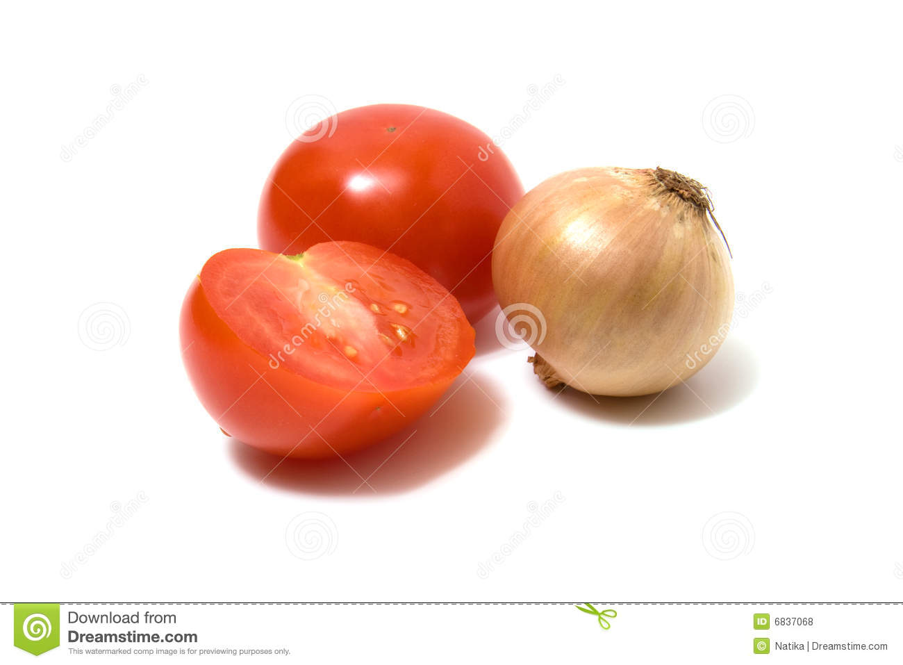 Download Tomato And Onion Isolated On White Stock Photo - Image of piece, vegetal: 6837068