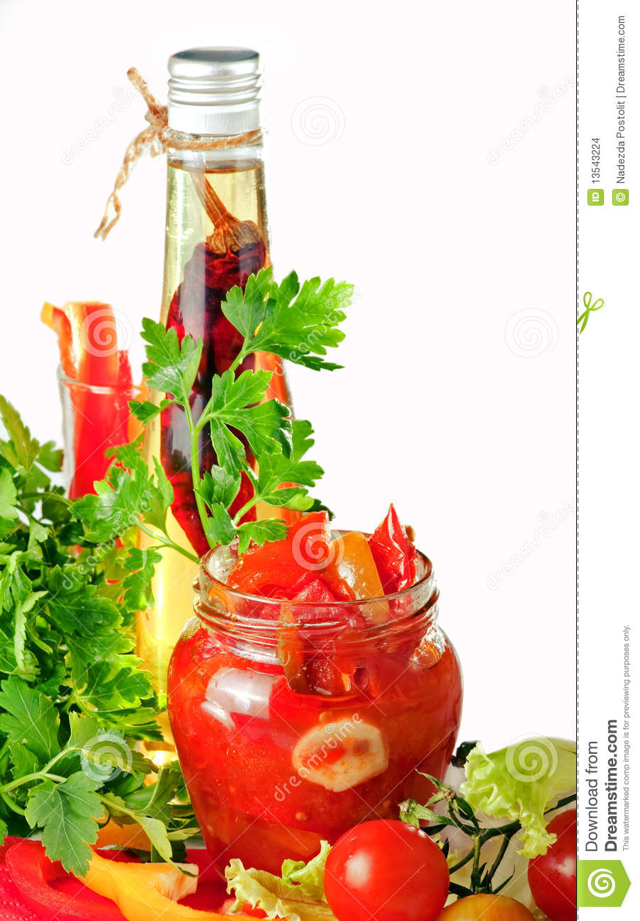 Tomato Preserves, Oil Pepper And Potherbs Stock Images - Image ...