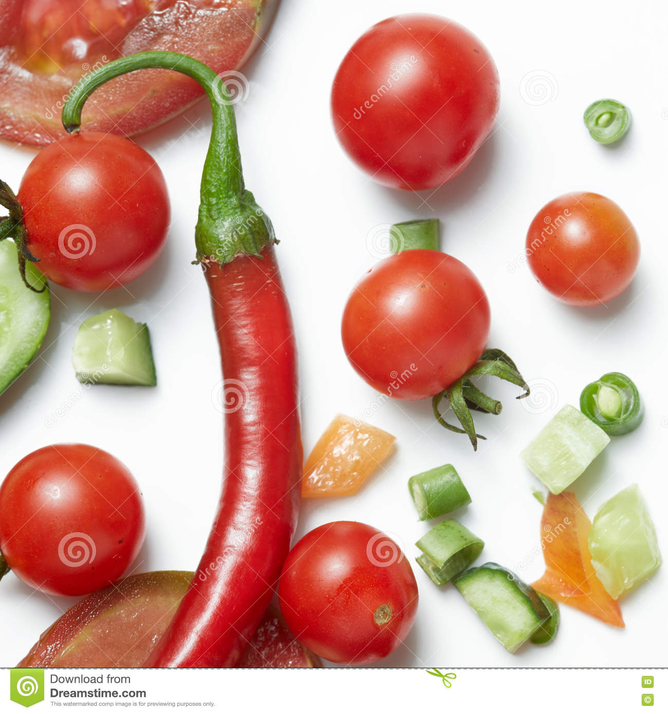 Tomato and red hot chili peppers