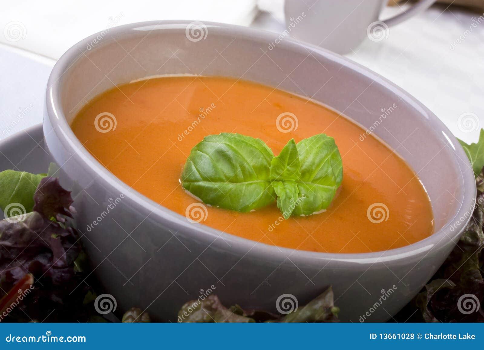 Tomato Soup With Basil Garnish Stock Photo - Image: 13661028 Cream Of Tomato Soup With Garnish