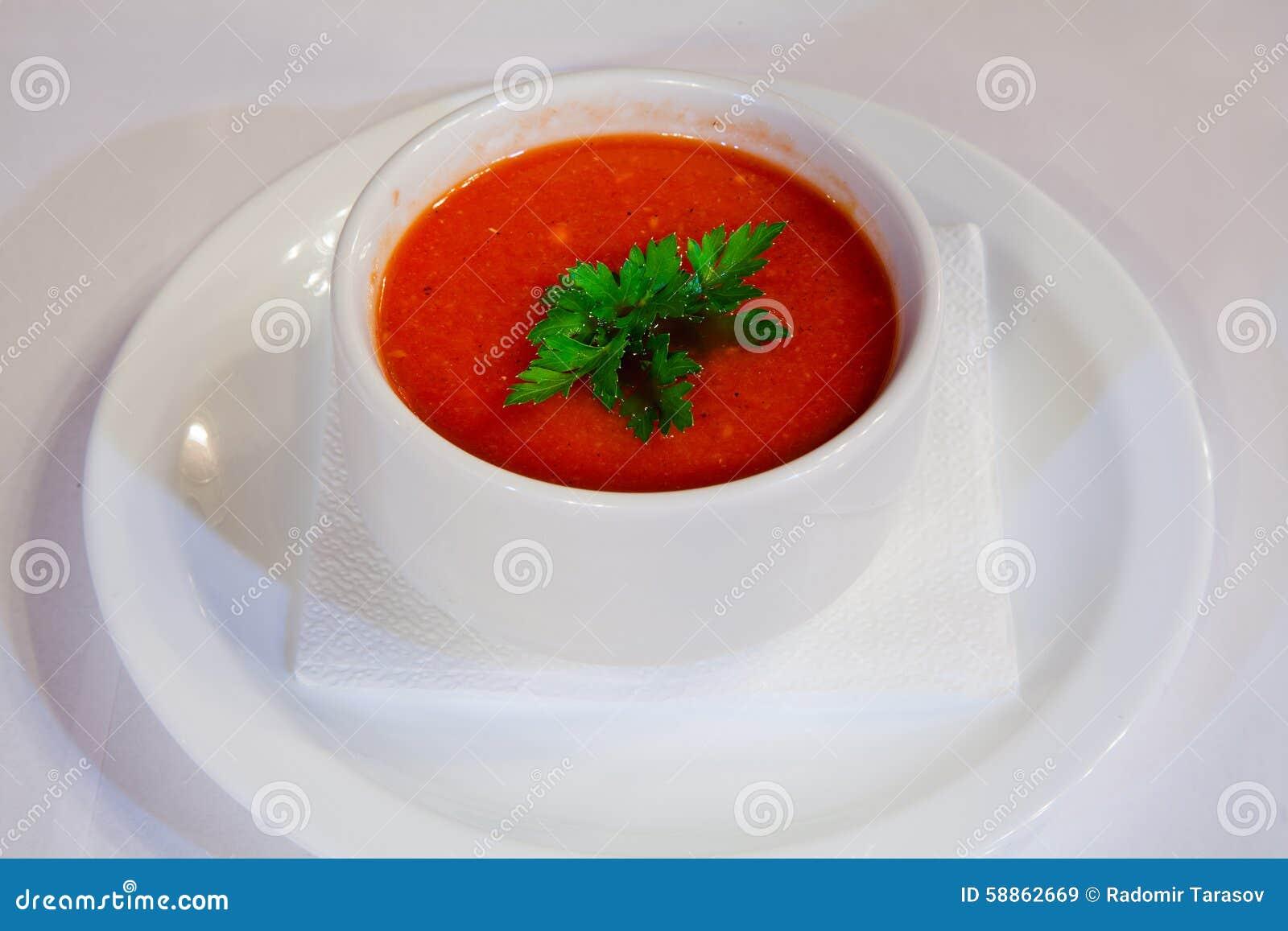 Raw Gazpacho Soup Tomato Soup In A Bowl ...