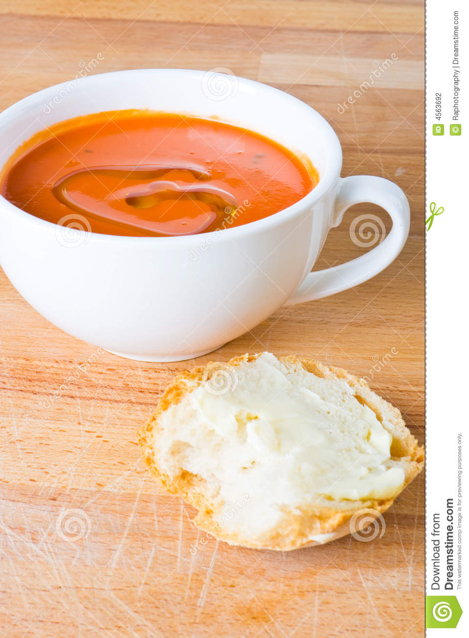 Tomato Soup With Bread Stock Photography - Image: 4563692