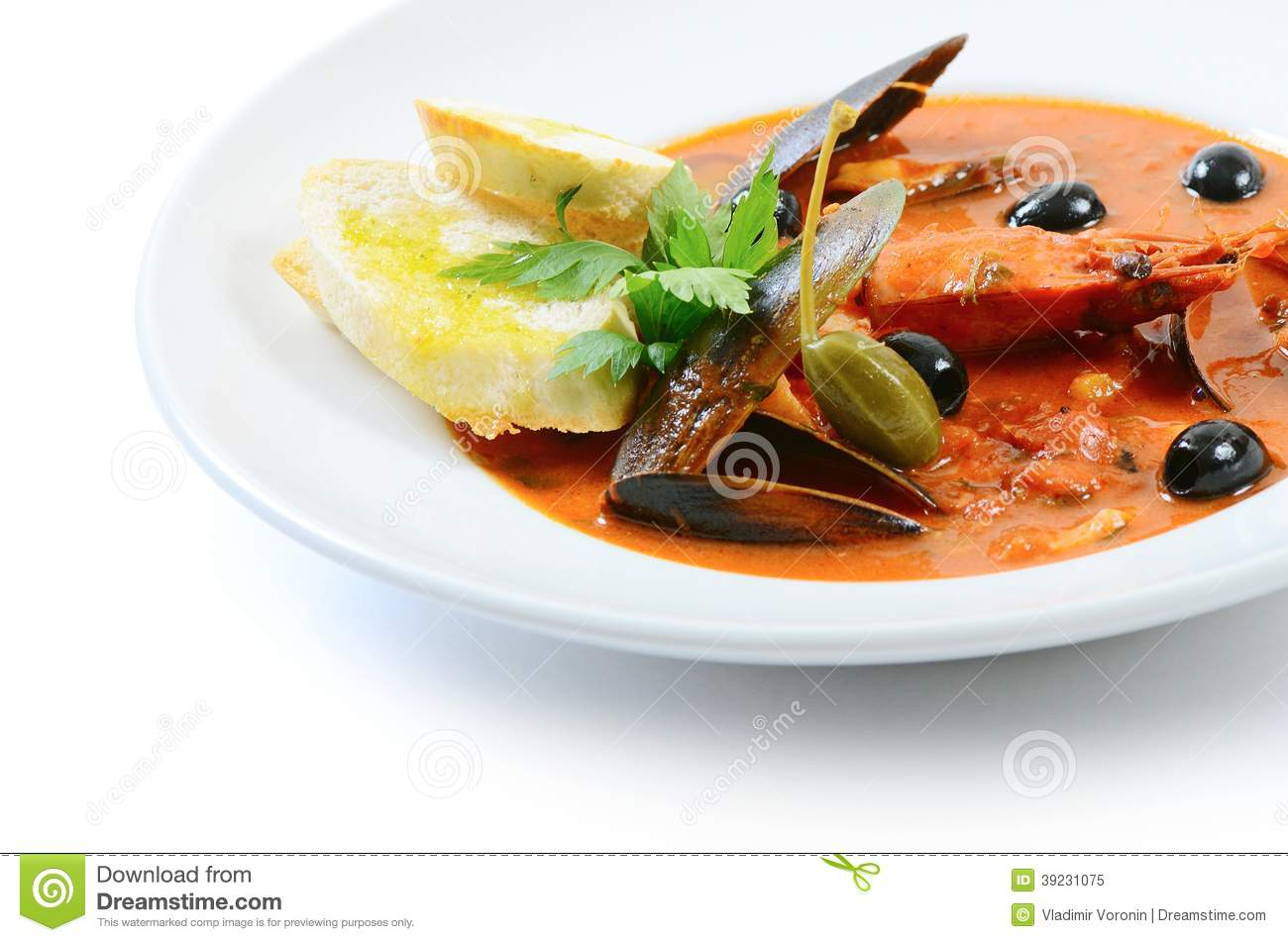 Tomato soup with fish and seafood stock photo image for Is fish seafood