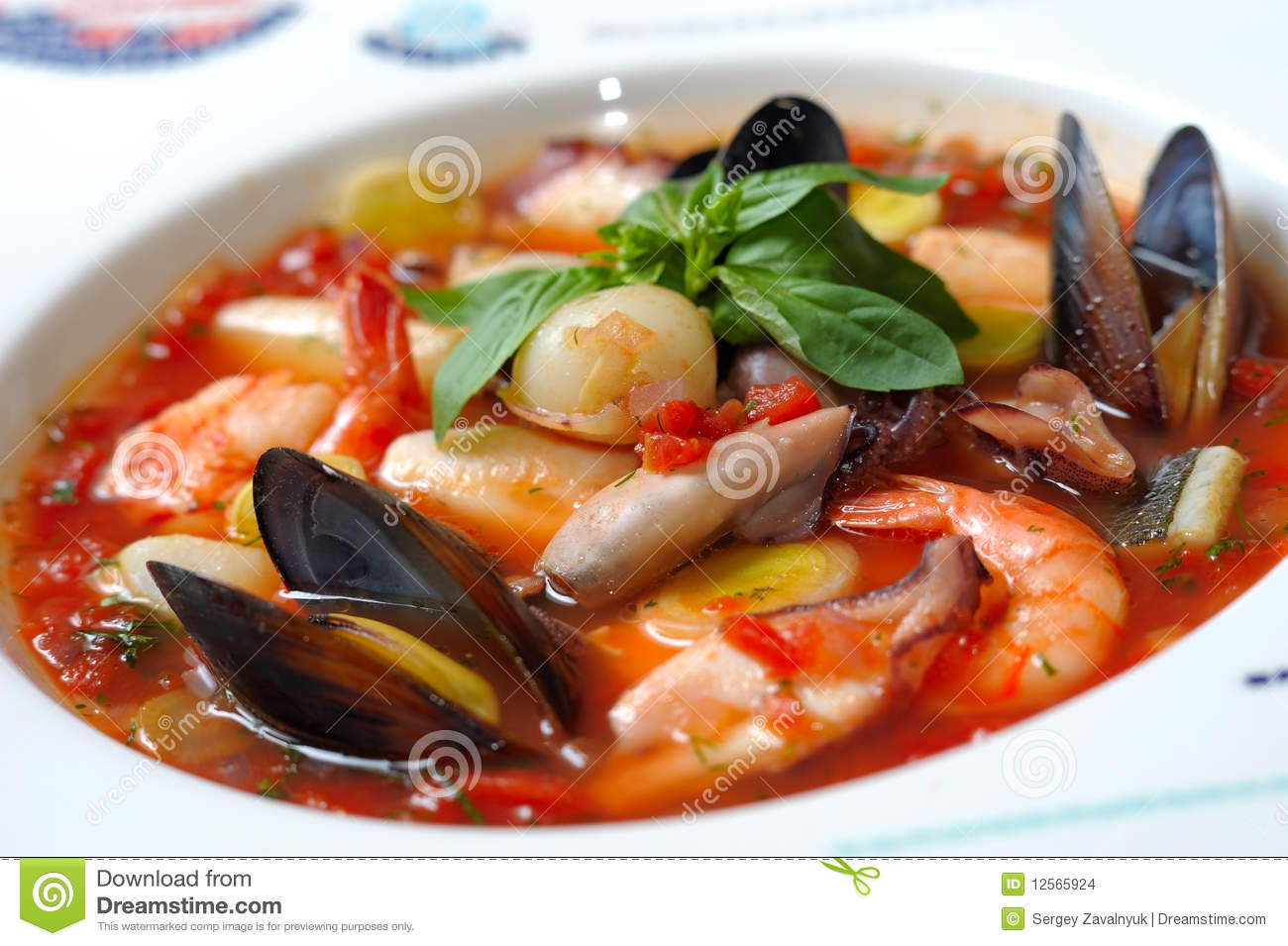 Tomato soup with seafood and fish stock images image for Fish and seafood
