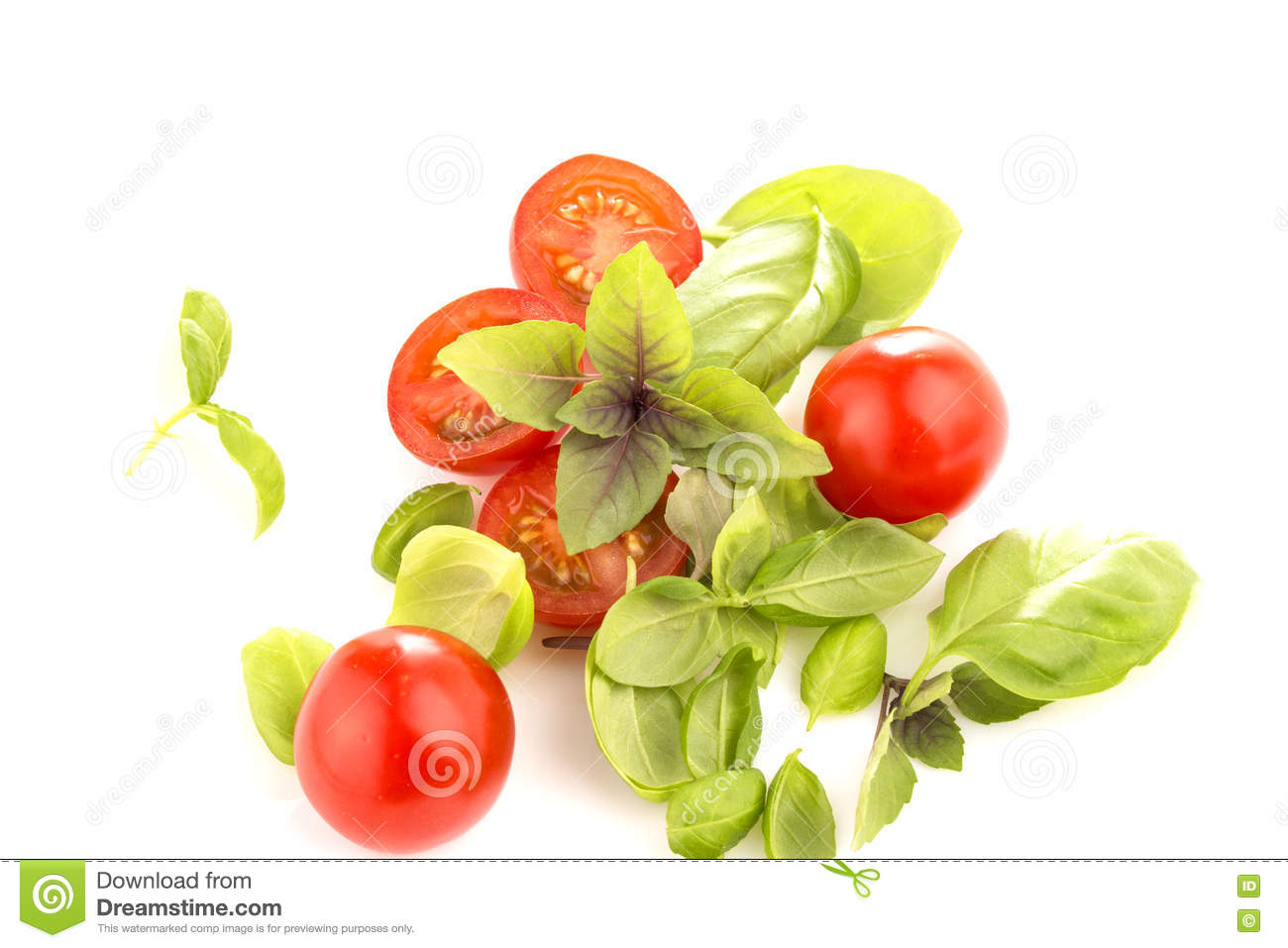 Tomatoes with basil on white background