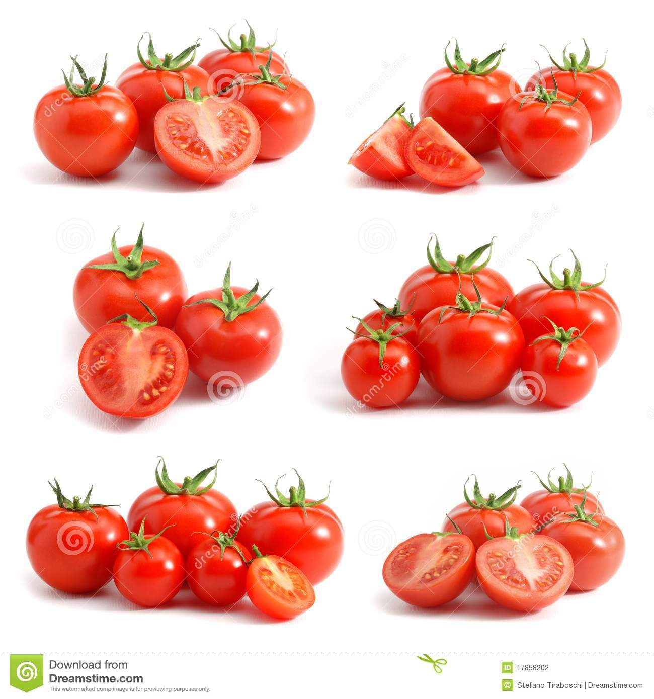 Download Tomatoes collection stock photo. Image of cherry, isolated - 17858202