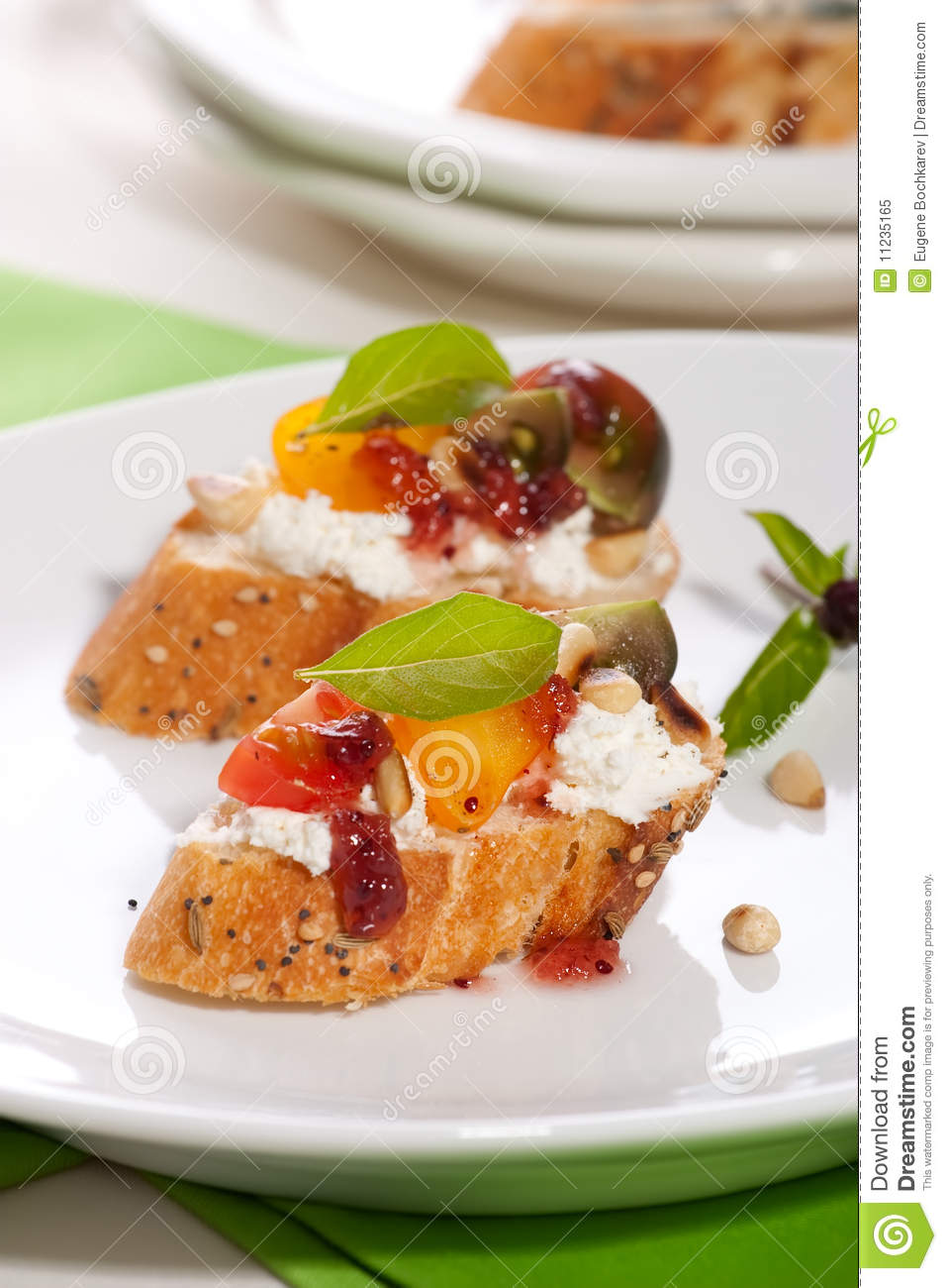 Tomatoes and cream cheese canapes royalty free stock photo for Cream cheese canape