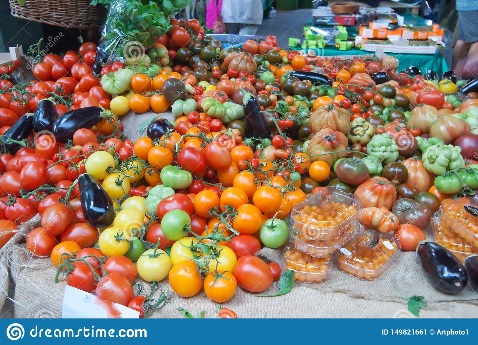 Tomatoes on display in the market