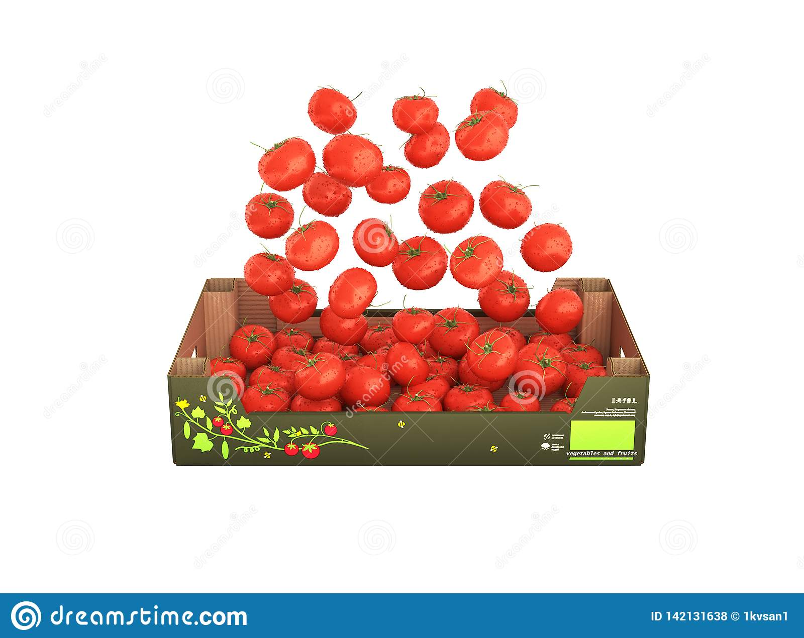 Tomatoes fall into the box without shadow on white background 3d