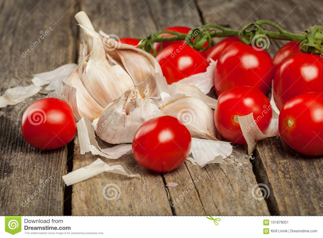 Download Tomatoes and garlic stock image. Image of diet, meal - 101879051