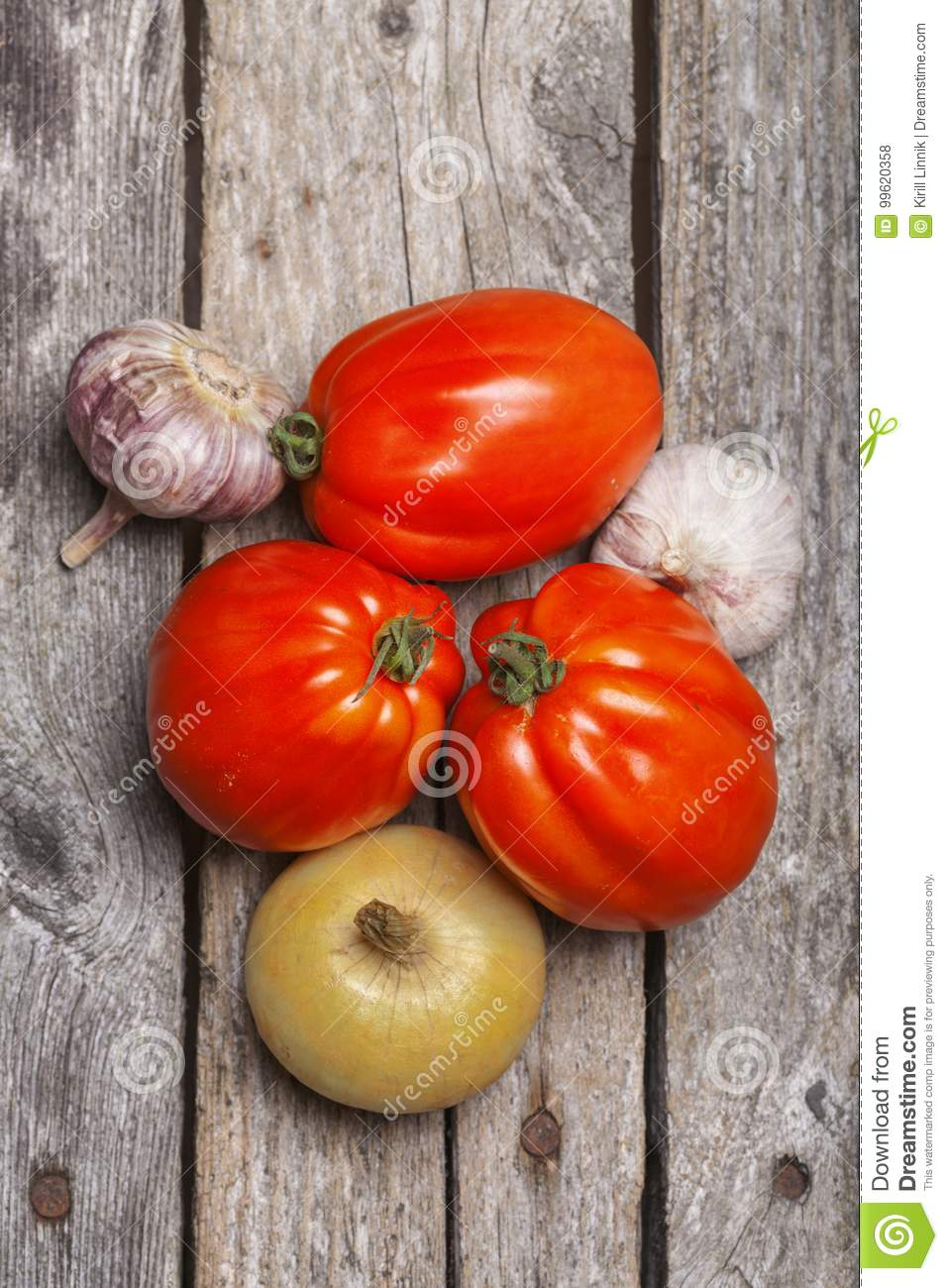 Download Tomatoes, Onion And Garlic On The Table Stock Photo - Image of kitchen, onion: 99620358