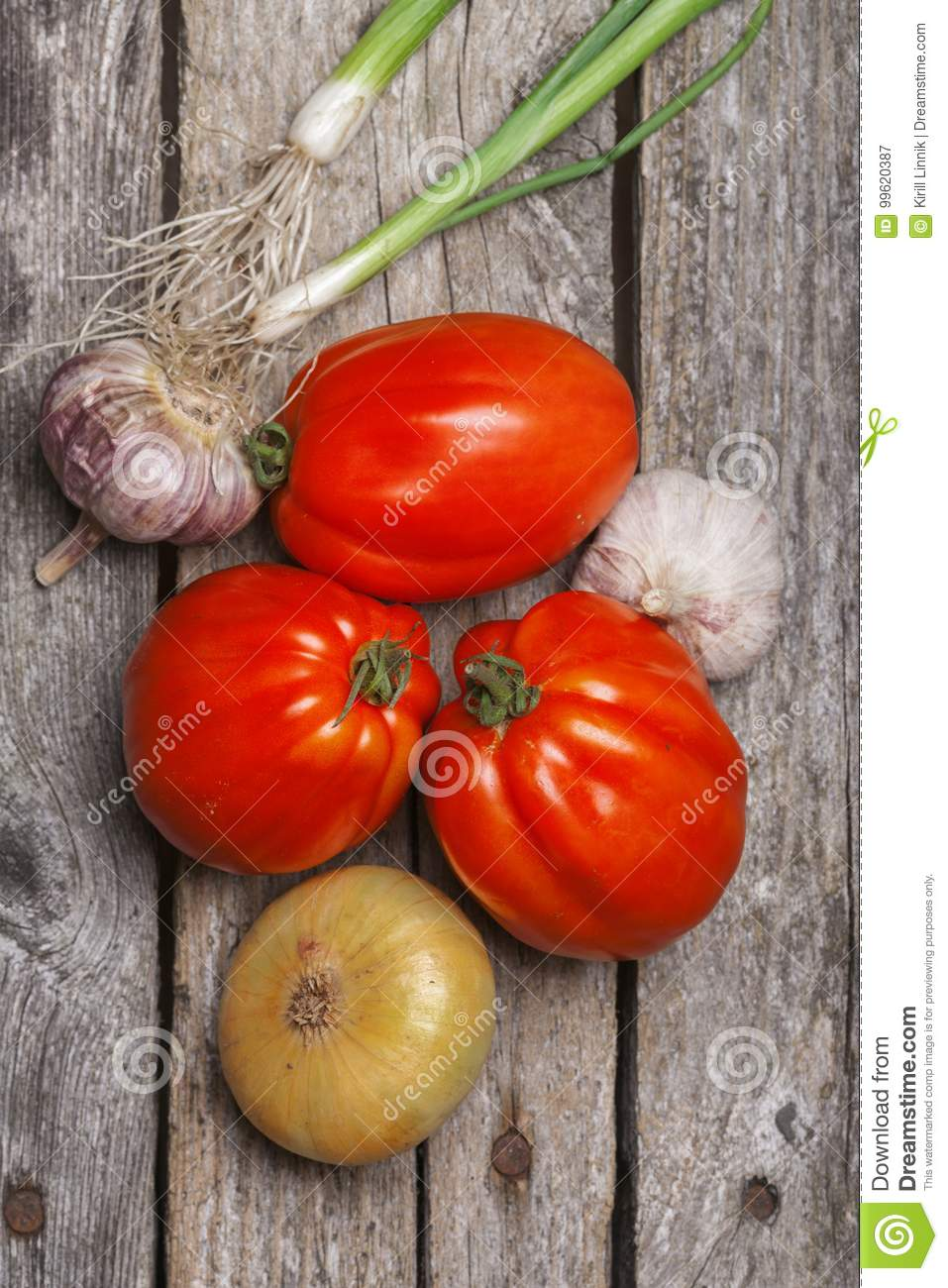 Download Tomatoes, Onion And Garlic On The Table Stock Image - Image of dark, nutrition: 99620387