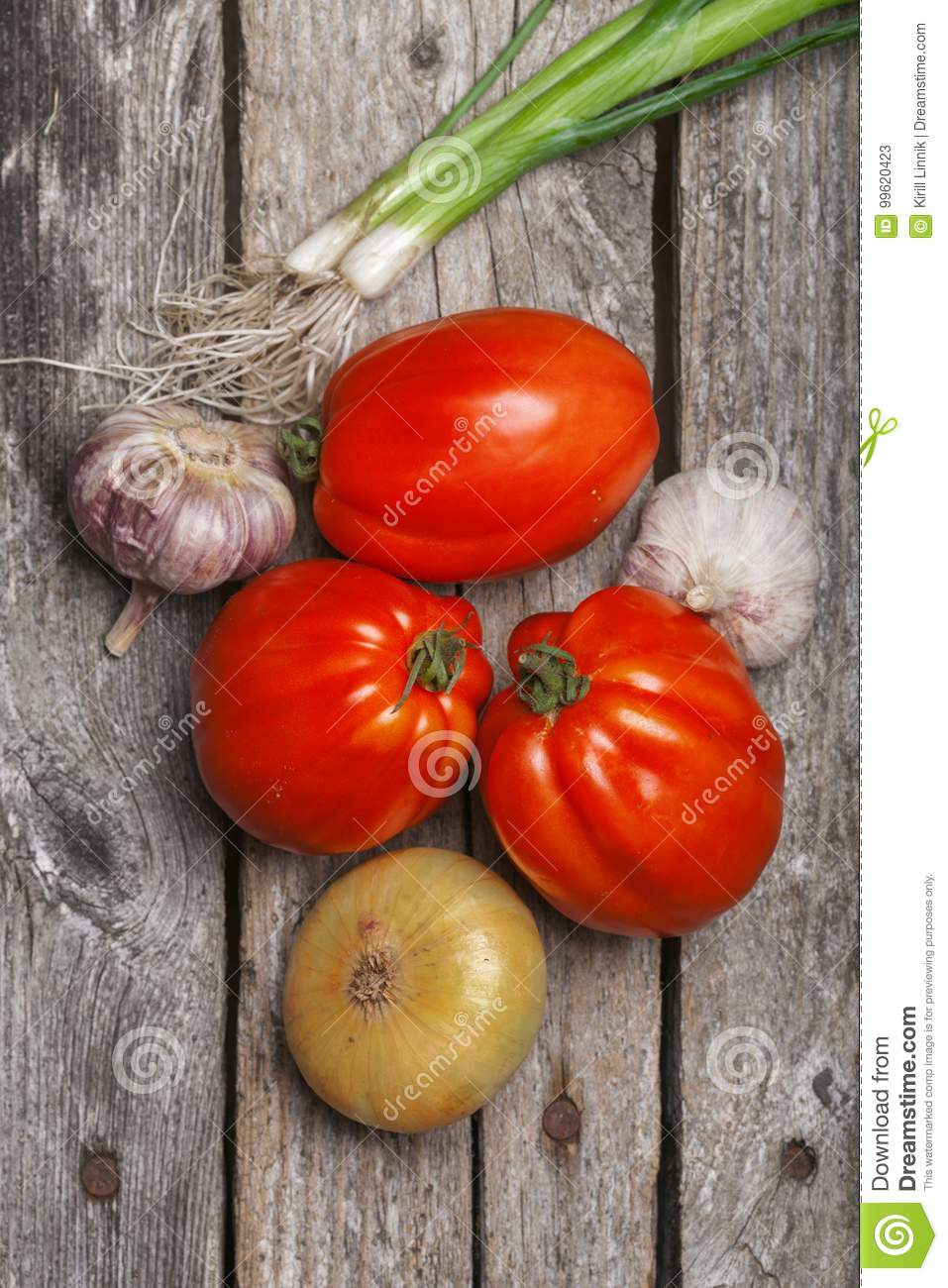 Download Tomatoes, Onion And Garlic On The Table Stock Image - Image of board, plant: 99620423