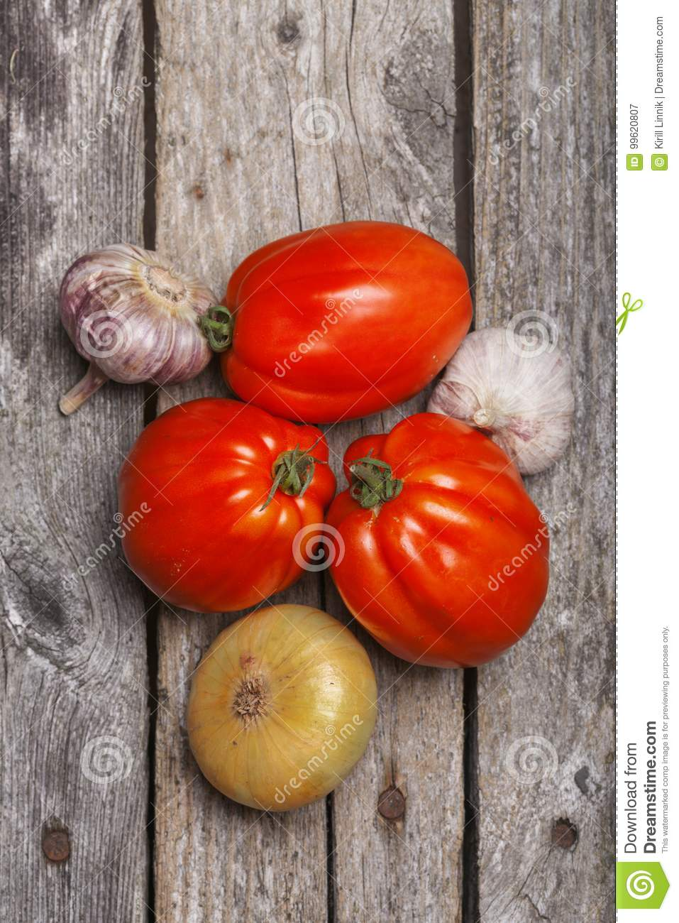 Download Tomatoes, Onion And Garlic On The Table Stock Image - Image of onion, meal: 99620807