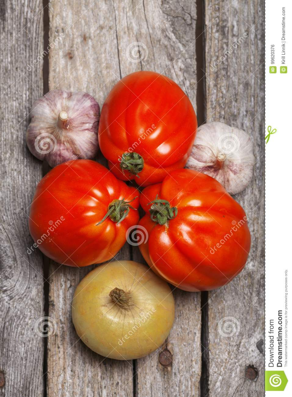 Download Tomatoes, Onion And Garlic On The Table Stock Photo - Image of copy, country: 99620376
