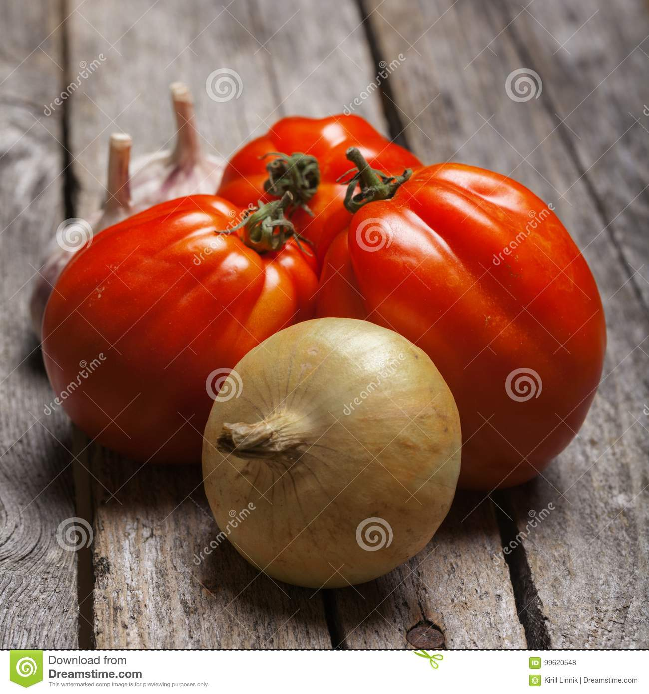 Download Tomatoes, Onion And Garlic On The Table Stock Photo - Image of agriculture, cook: 99620548