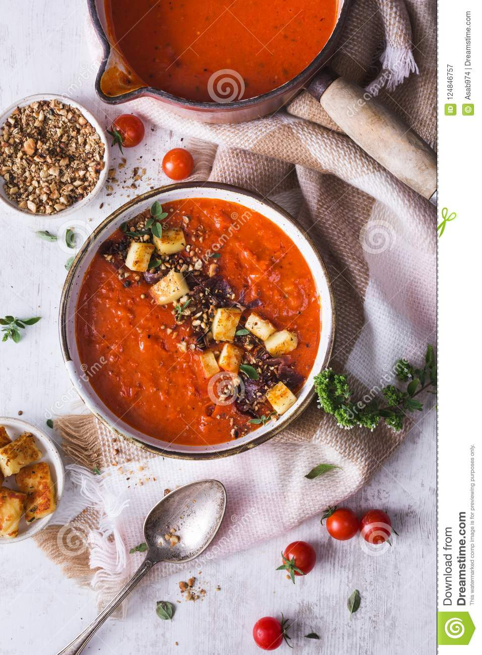 Tomatoes and Red Pepper Soup with Halloumi Chesse and Dukkah Spices
